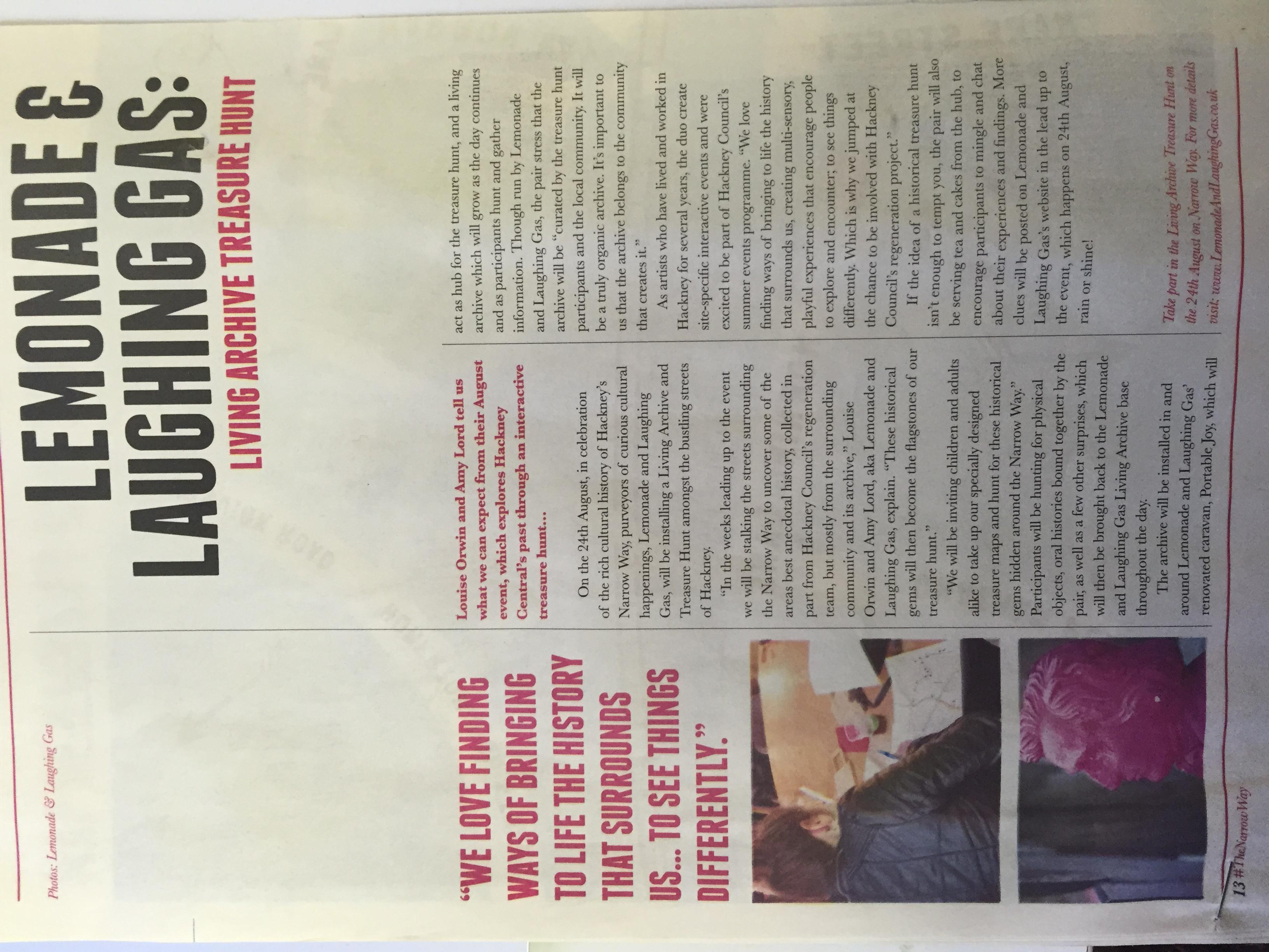 Hackney Live Archive Treasure Hunt Hackney Gazette Feature  Aug 2014, p1