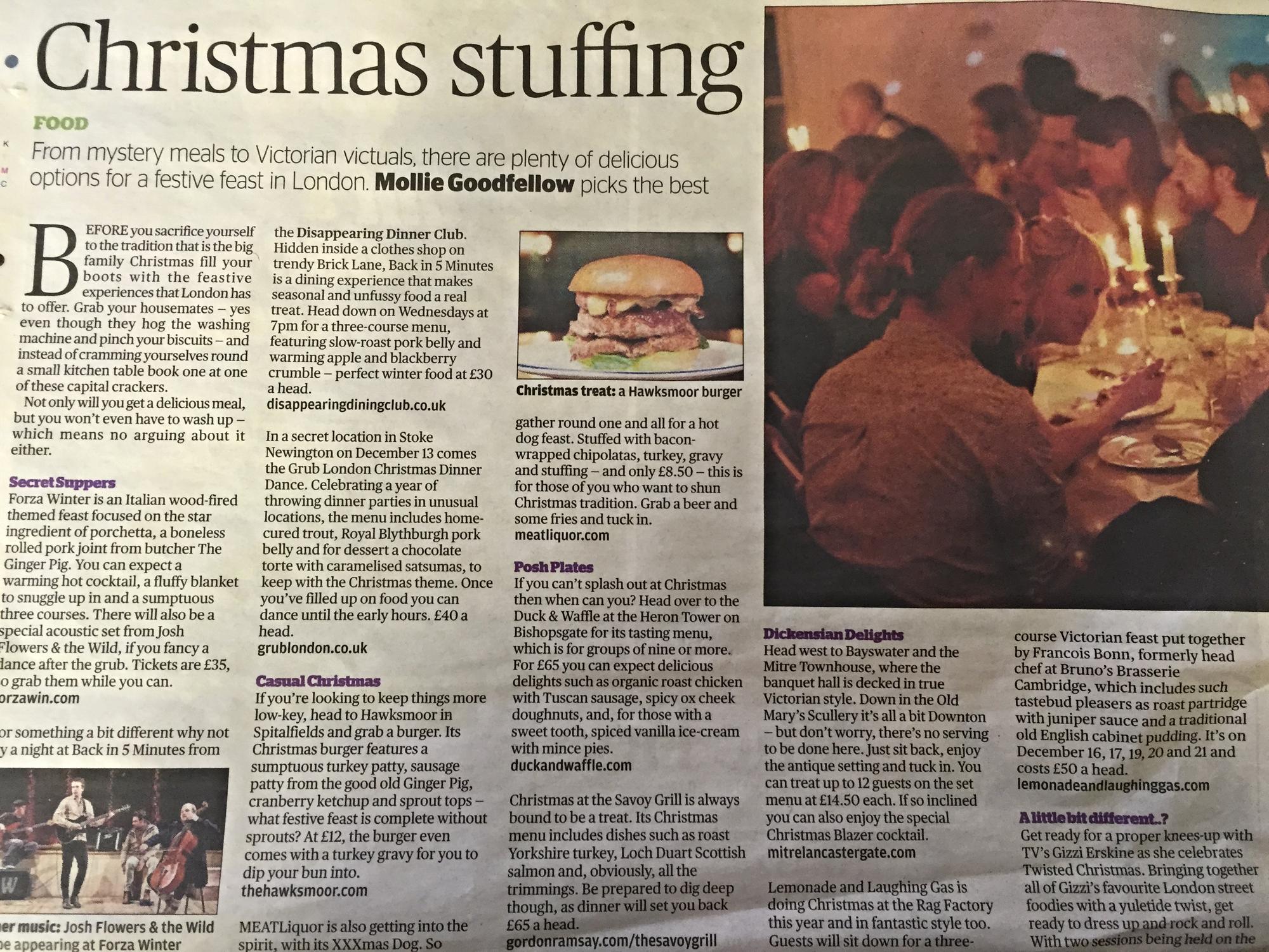 L&LG Do Xmas Evening Standard Feature  Dec 2013