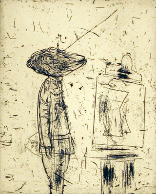 Untitled (soldier and easel)
