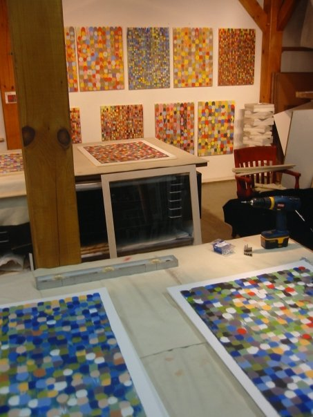 Janine Wong's  Pointarray  (series II) drying in the studio (2010).