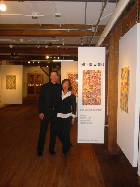 James Stroud and Janine Wong at Wong's  Pointarray  (series I) exhibition at The Mill in Bridgewater, Vermont. (2007)