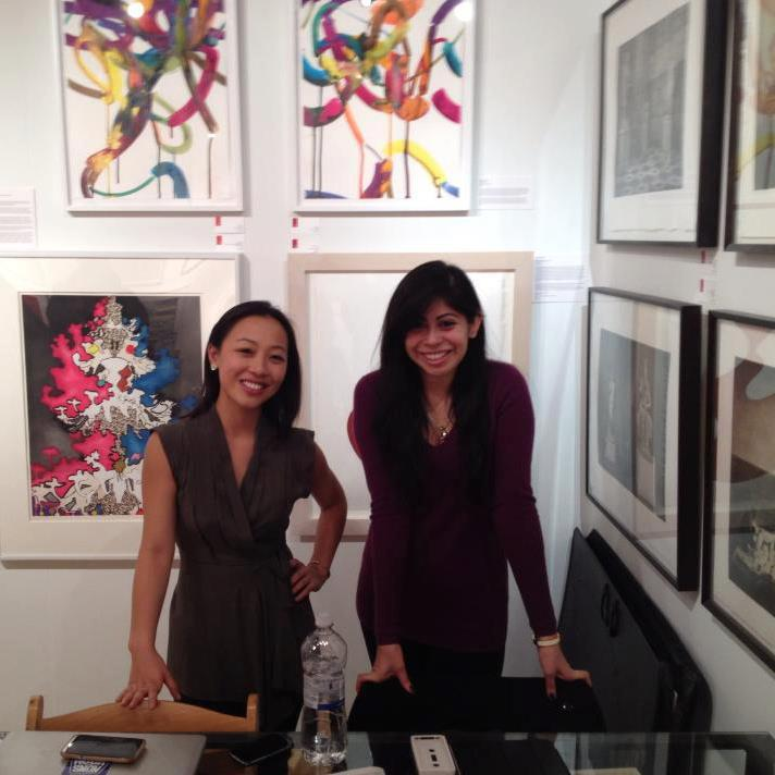 Andrea Cheung and Andrea Collazo at the Center Street Studio booth for the 2013 E/AB fair in new York City.