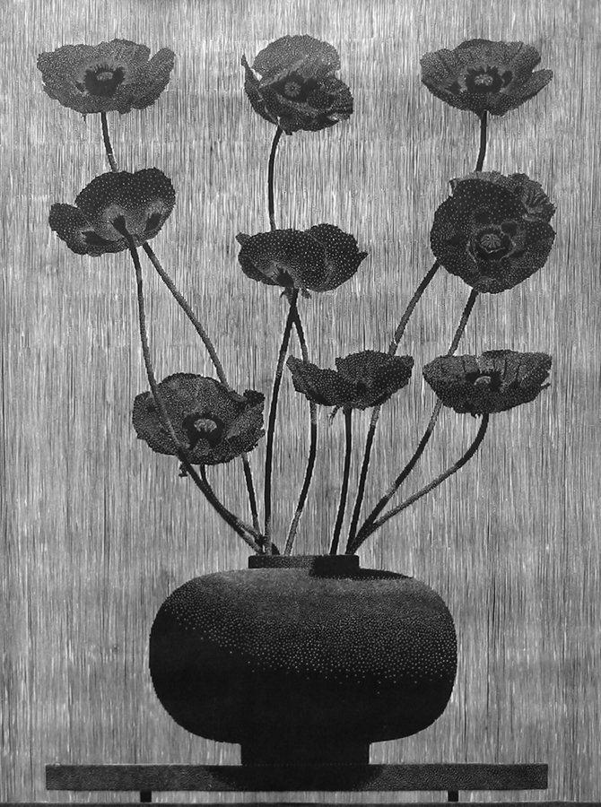 Center Street Studio is pleased to announce the publication of Richard Ryan's nine black poppies,a woodcut printed on natural Kozo paper. The print measures 54 x 40 inches (image), 60 x 43 inches (sheet) and took the artist a year to cut into the block. Contact James Stroud, Director for price informationand availability.