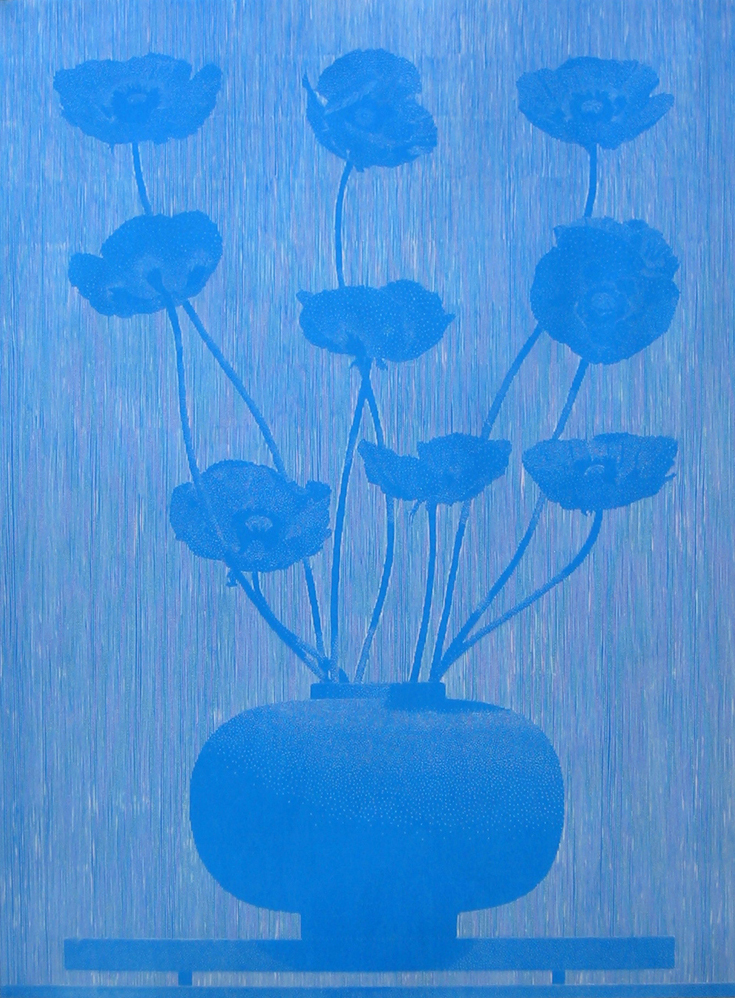 """Richard Ryan on his motivations to make a woodcut:    """"My 'Nine Blue Poppies' woodcut project began as a gouache study for a large painting. Over the last fourteen years I have been made a number of paintings of things that grow on my property, either in my garden, or wild in the landscape. Last year was a good year for our poppy plants; the flowers were large and particularly malevolent. There were six main thoughts in my mind when I decided to try to use these flowers for a painting: their dark beauty, the color blue, our current wars in the middle east, the anti war poetry of the first world war in Europe, the heroin trade, and one of my favorite songs by Captain Beefheart, 'Veterans Day Poppy.' These thoughts kept combining and recombining in various forms of meanings, ironies, and paradoxes. I decided this would do for a start."""""""