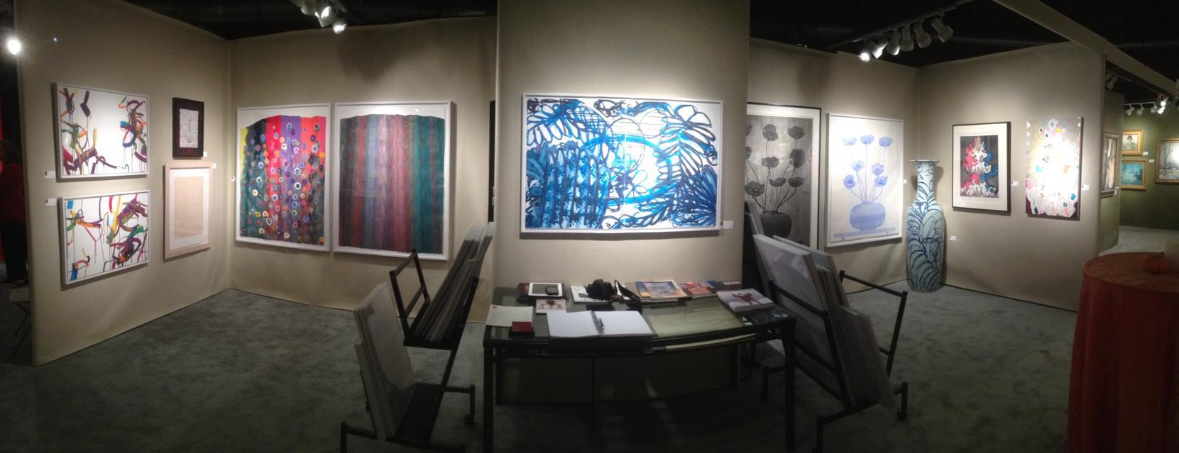 A panoramic photo of Center Street Studio's booth at the Boston International Fine Art Show (BIFAS), November 2013.
