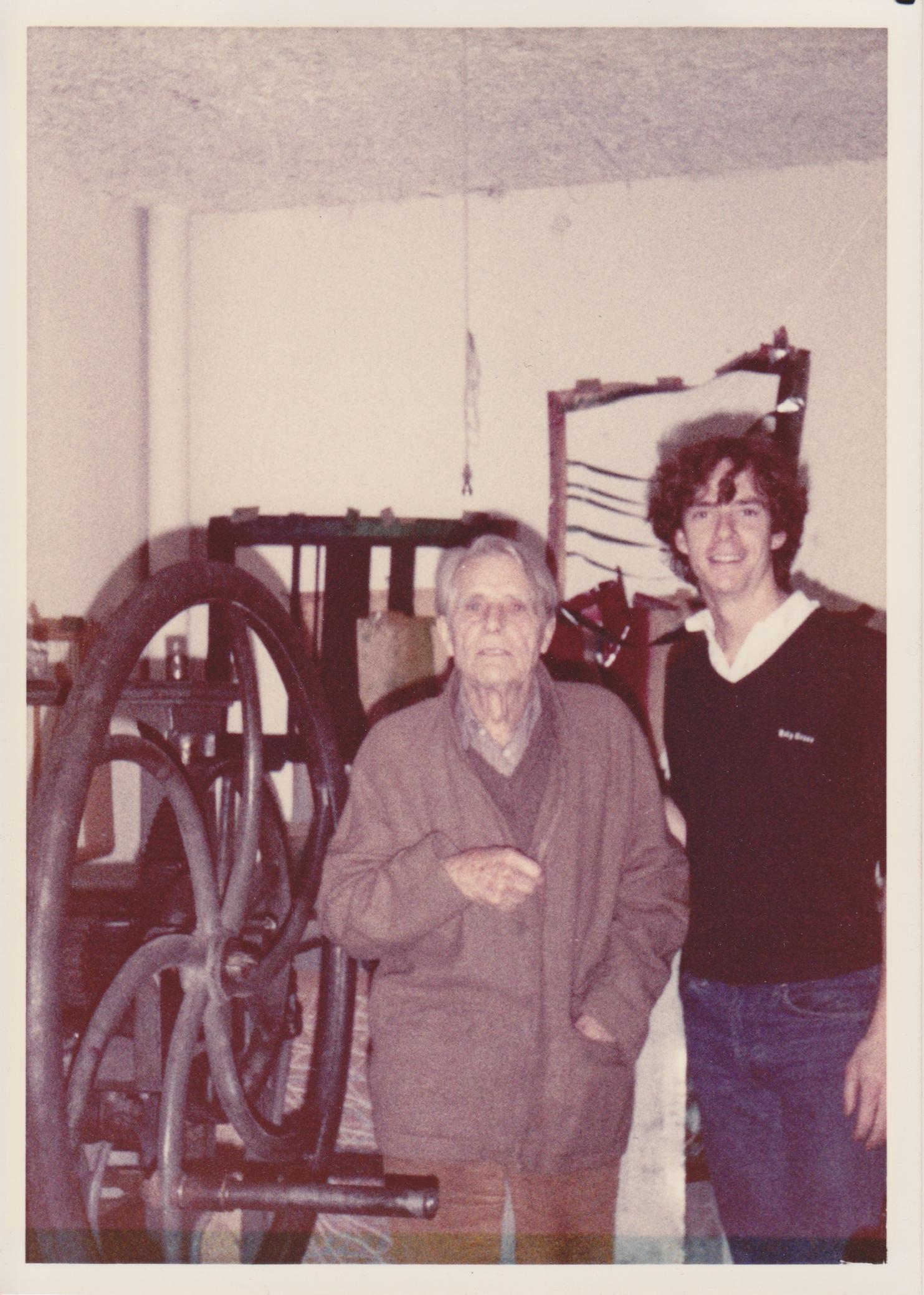 James Stroud and legendary printmaker Stanley William Hayter at Atelier 17, Paris 1980.