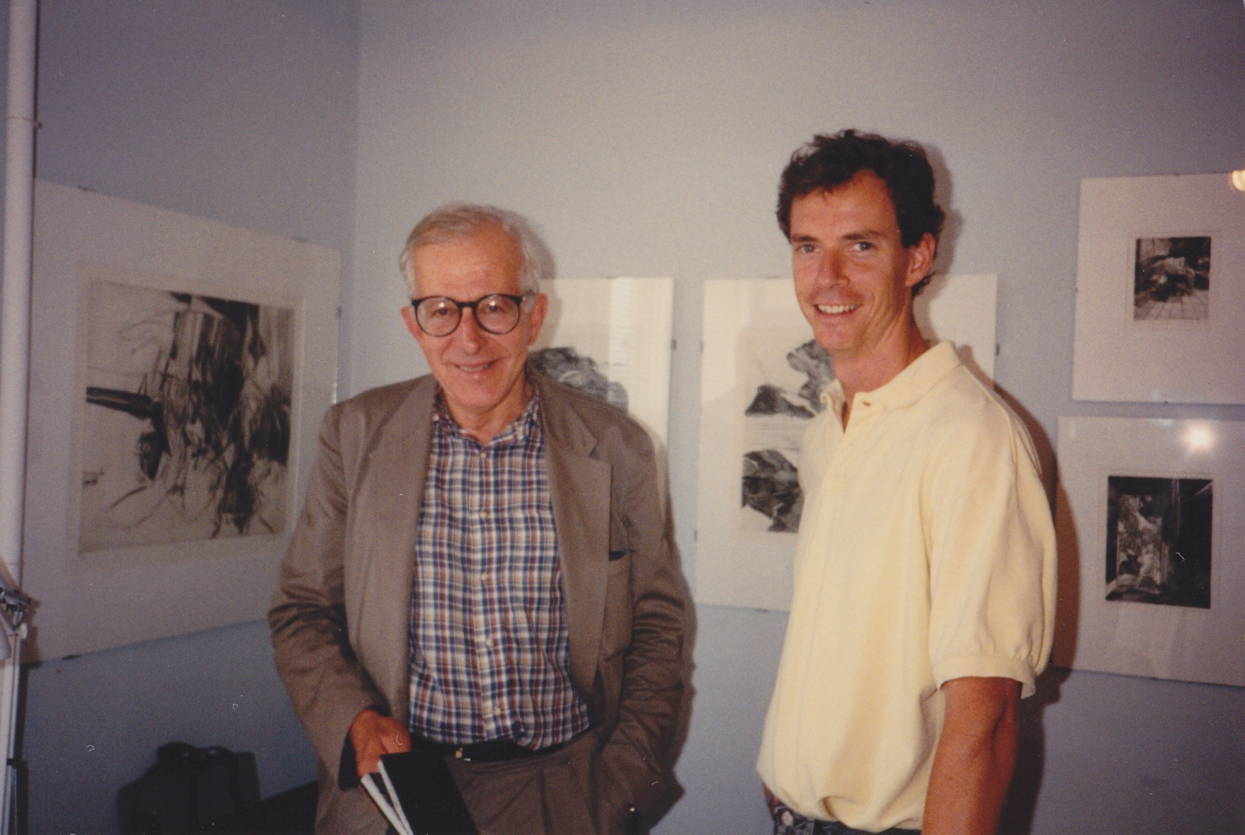 Artist and mentor George Ball with James Stroud at the artist's exhibition at the Distillery Building in 1988.