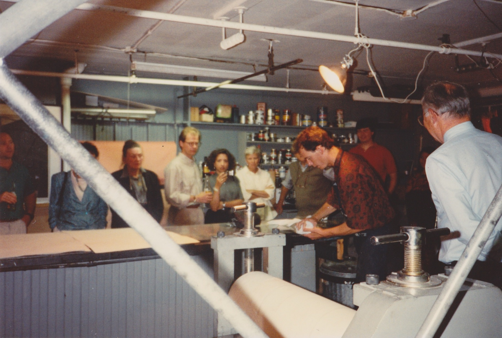 James Stroud gives a print demonstration at Boston's Distillery Building in the early 1990s.
