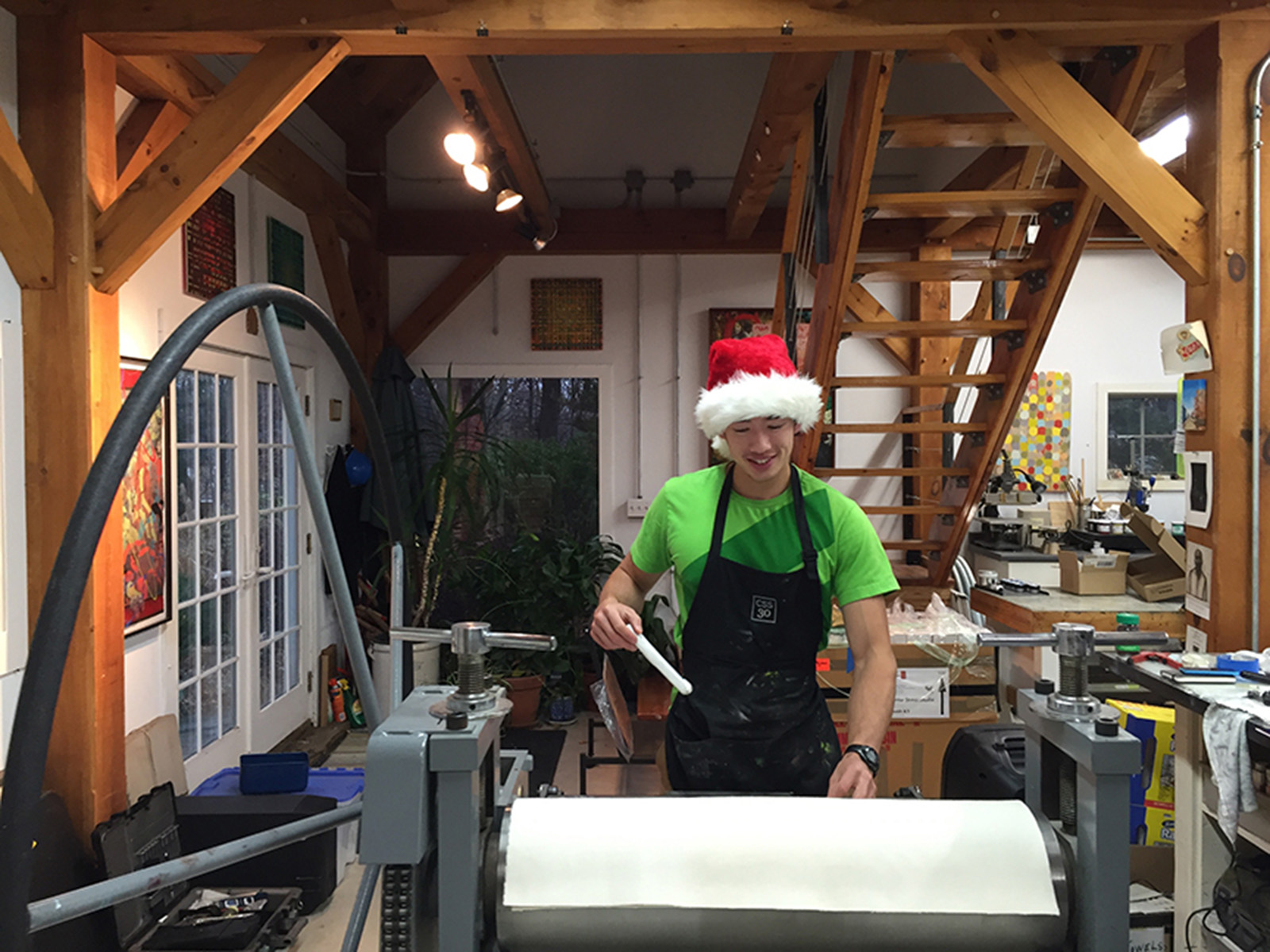 Work during the holidays: Ryder Stroud preps the press for printing one of the letters in the Matthew Carter  A-Z  portfolio project.