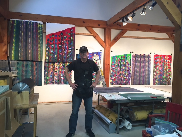 James Stroud and a studio full of Markus Linnenbrink monotypes