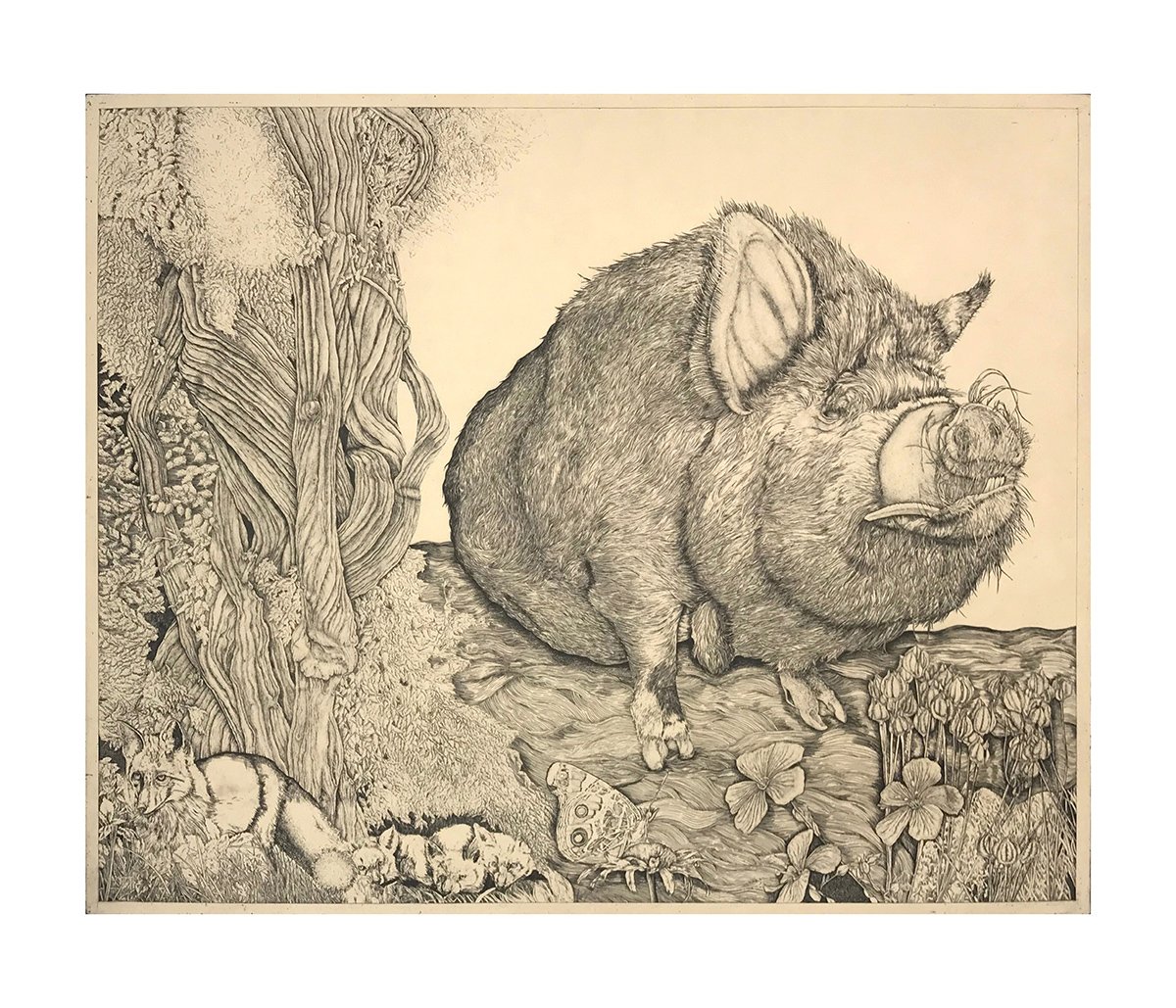 Tucker  etching with chine collé  22 x 28 inches (image)  31.5 x 36 inches (sheet)  edition 30  2017