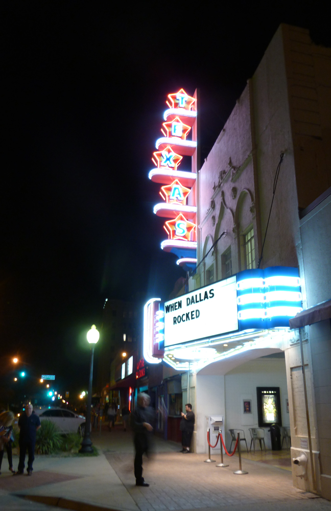 Opening night, after the show started, the Texas Theatre, Oak Cliff.