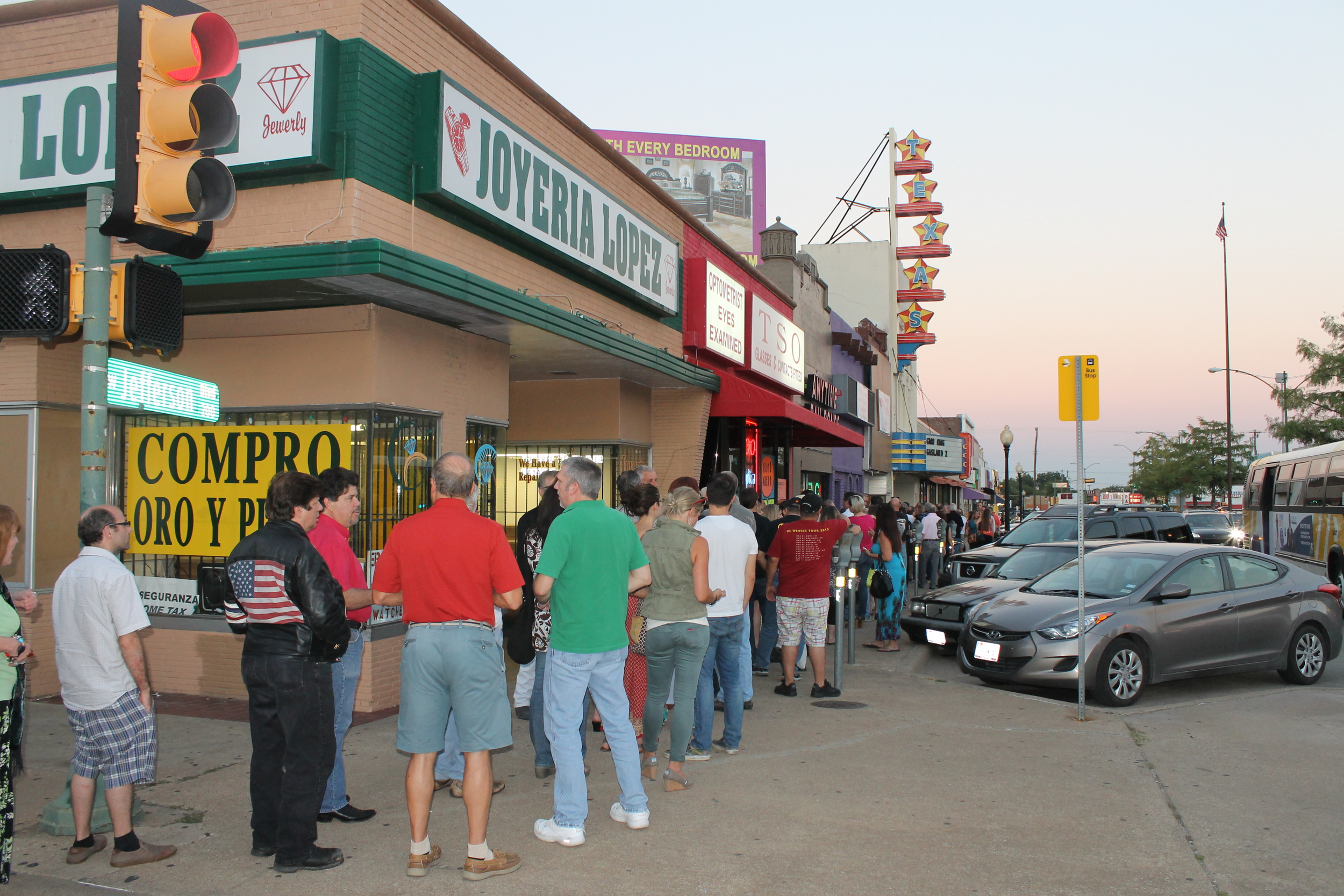 A line around the block to get into the premiere at the historic Texas Theatre, September 26, 2013.