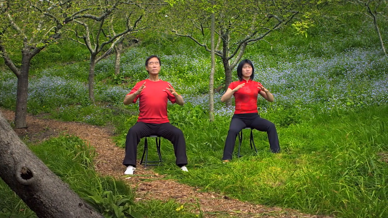 """Master Li Junfeng and Li Jing demonstrate the movement, """"Unraveling the Heart"""""""