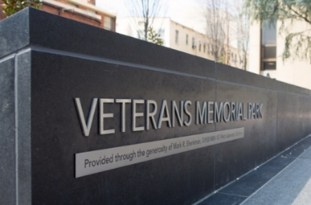 Veterans memorial park located in kogan plaza at the george washington university