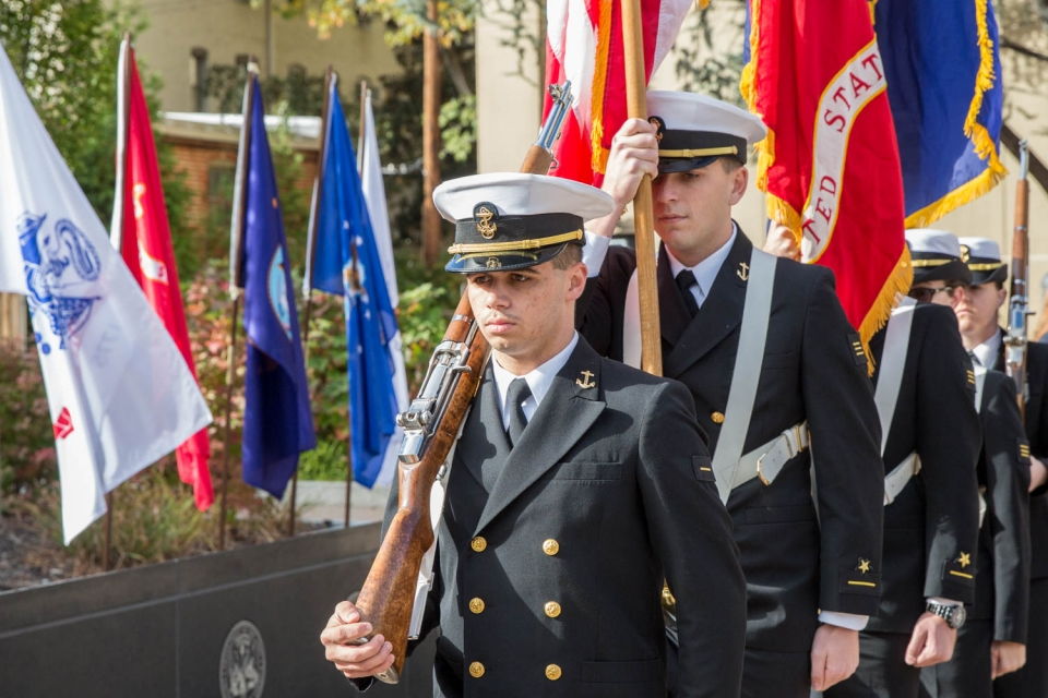 The GW Navy ROTC presented colors at the Veterans Day wreath laying. (Logan Werlinger/GW Today)