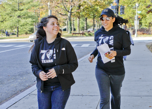 Elena Kim, a U.S. Army veteran who is earning her graduate degree in political management, raced across D.C. for a scavenger hunt Saturday in honor of Veterans Day. Several months after arriving at GW, Kim said she found a network of female veterans that helped her transition back to civilian life.
