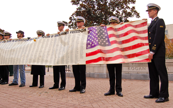 About a dozen men and women in uniform gathered in Kogan Plaza Friday for Veterans Day. A national organization for veterans, VietNOW, presented the University with a memorial banner honoring soldiers who died in the Iraq and Afghanistan War.