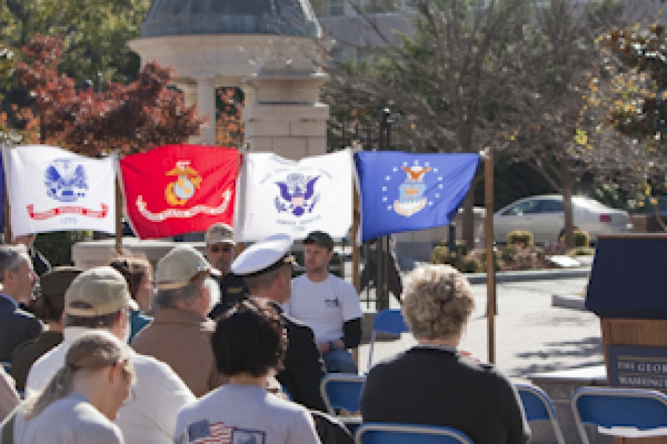 GW student veterans, community members paid tribute to the nation's veterans in the university's third annual Veterans Day ceremony.