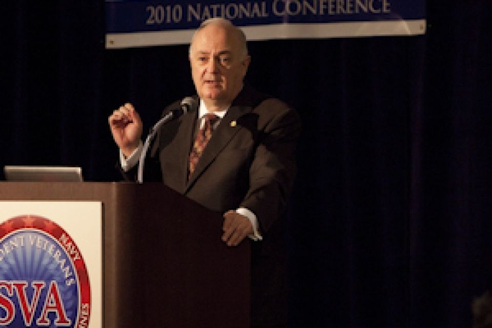 GW President Steven Knapp addresses student veterans at the Student Veterans of America Conference Oct. 3.