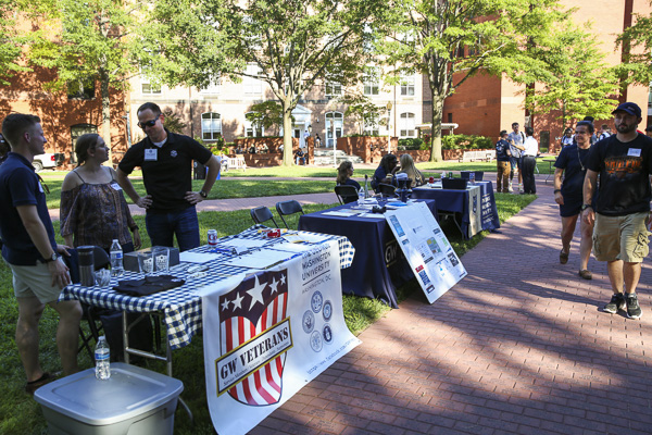 Media Credit: Dan Rich | Photo Editor  Organizations gather at the 2016 Valor tailgate and resource fair last month. Veterans' day of service is moved to next semester after staff turnover.