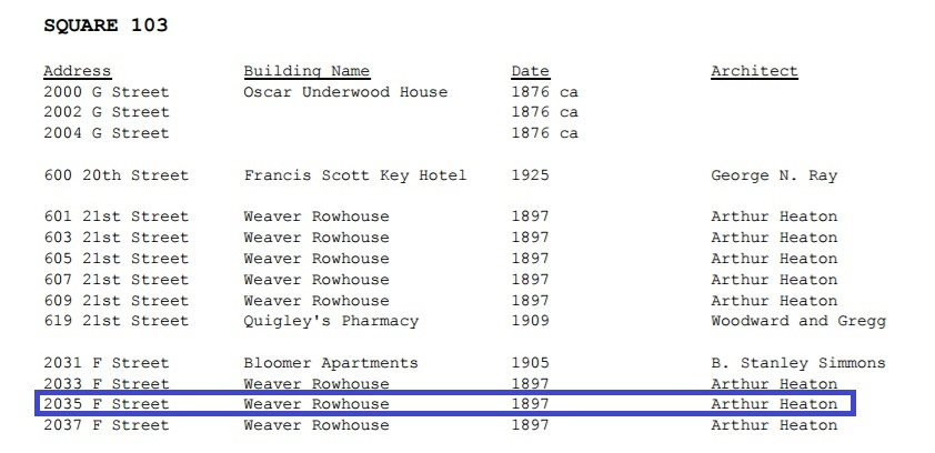 Record of when rowhouse was built