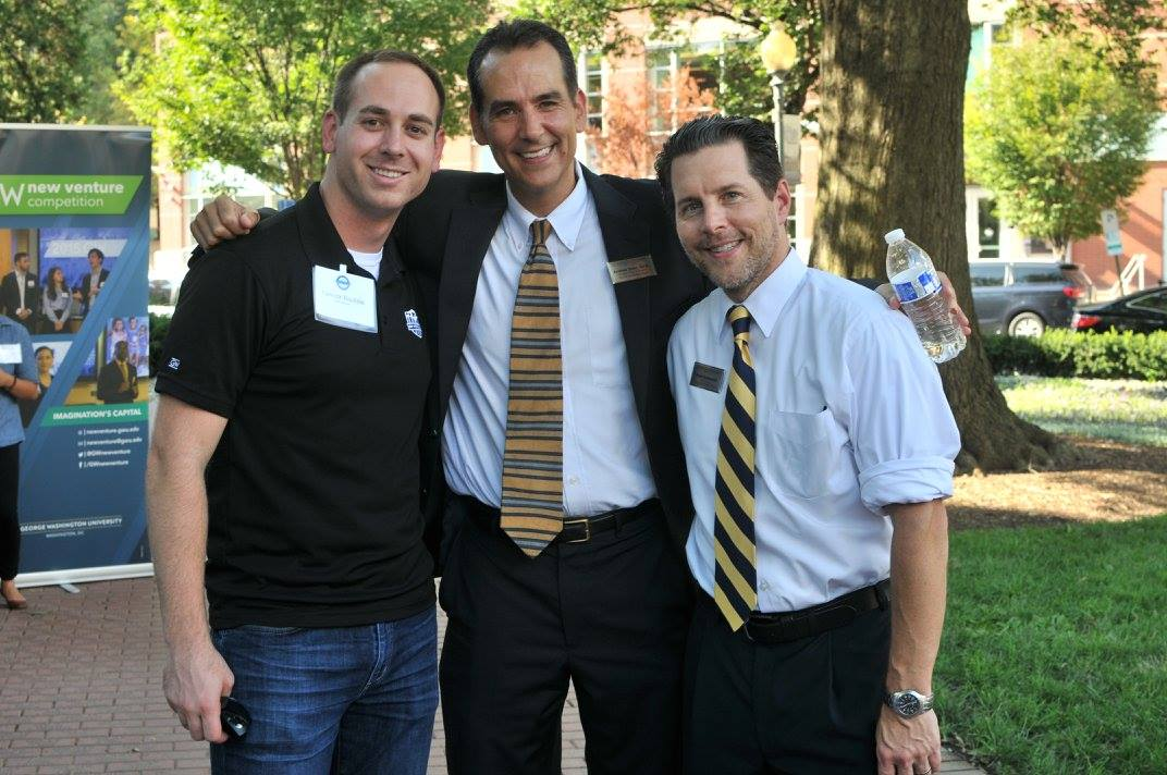 GW Veteran Yannick Baptiste, Assistant Dean of Student Andy Sonn, and Dean of Student Affairs Peter Konwerski at the 2016 VALOR Tailgate.