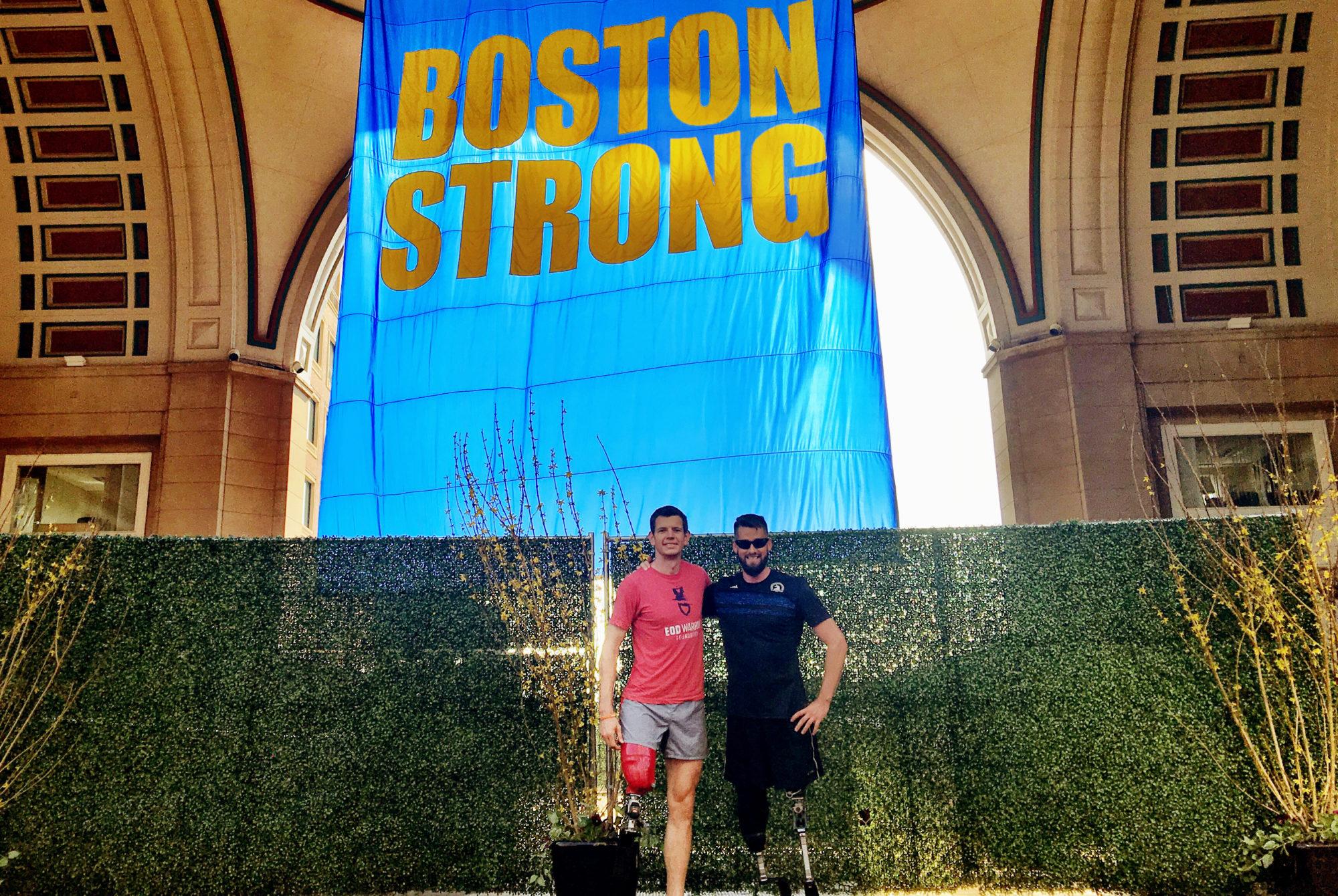 MEDIA CREDIT: COURTESY BY ADAM POPP  Adam Popp, a first-year graduate student and Air Force veteran, ran the Boston Marathon alongside tens of thousands of runners last week.