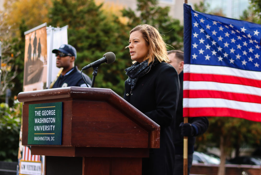 MEDIA CREDIT: MAX WANG | STAFF PHOTOGRAPHER   Victoria Pridemore, the associate director of the Office of Military and Veteran Student Services, spoke at the Veterans Day wreath-laying ceremony in Kogan Plaza Friday morning.