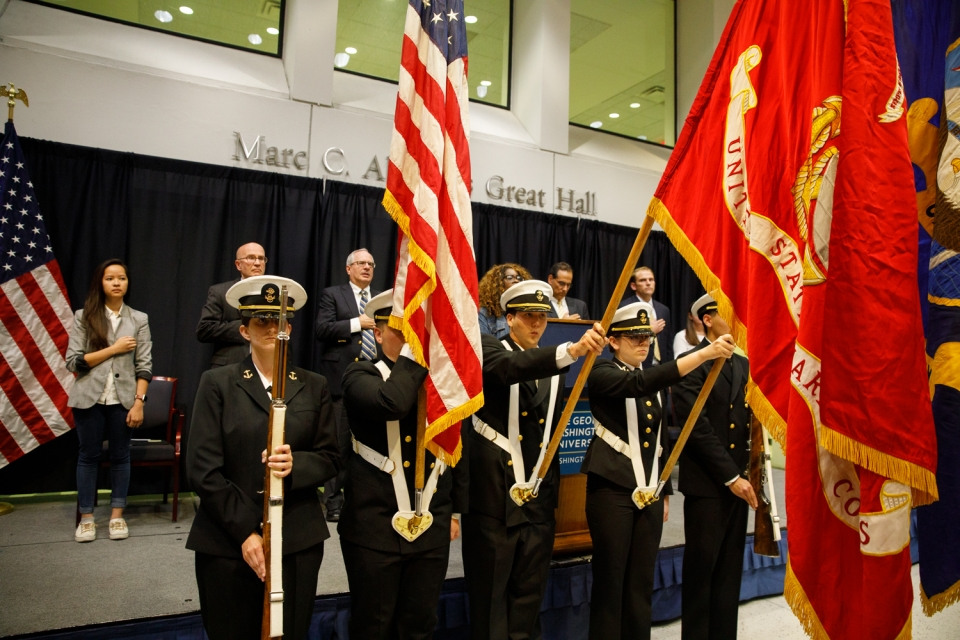 A presentation of the colors by the GW Naval Reserve Officer Training Corps at the 9/11 Remembrance Ceremony Tuesday evening in the Marvin Center. (William Atkins/GW Today)