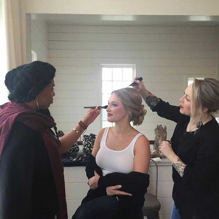 Brooke Meadows, hairstylist & I getting our beautiful bride ready
