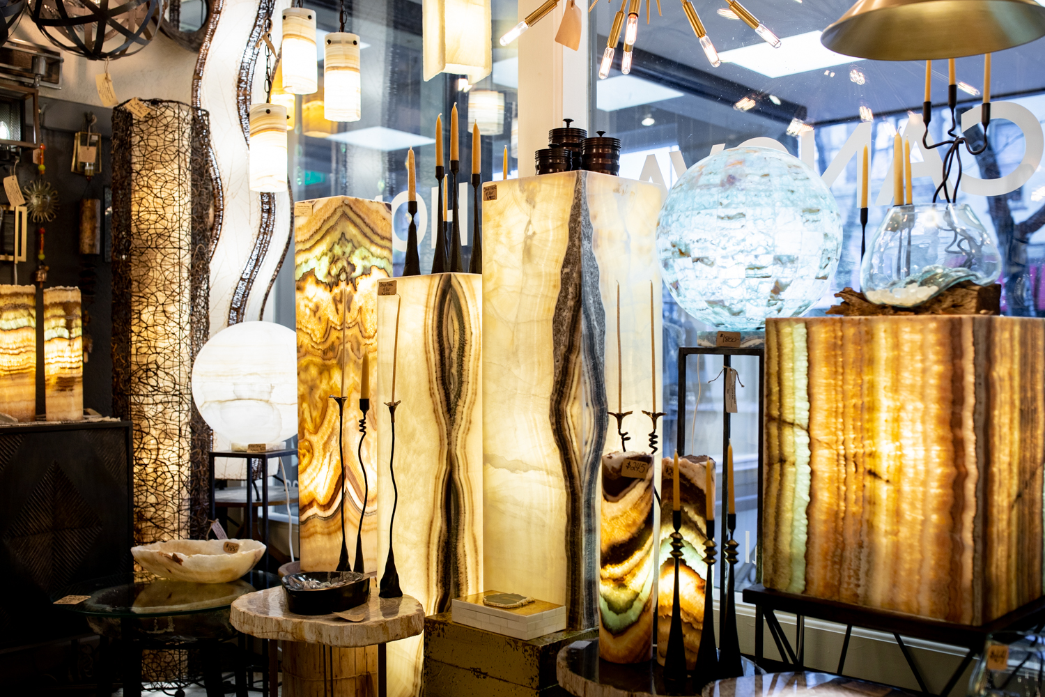 Stone Lighting - Check out the great selection of Onyx and Fluorite Lamps