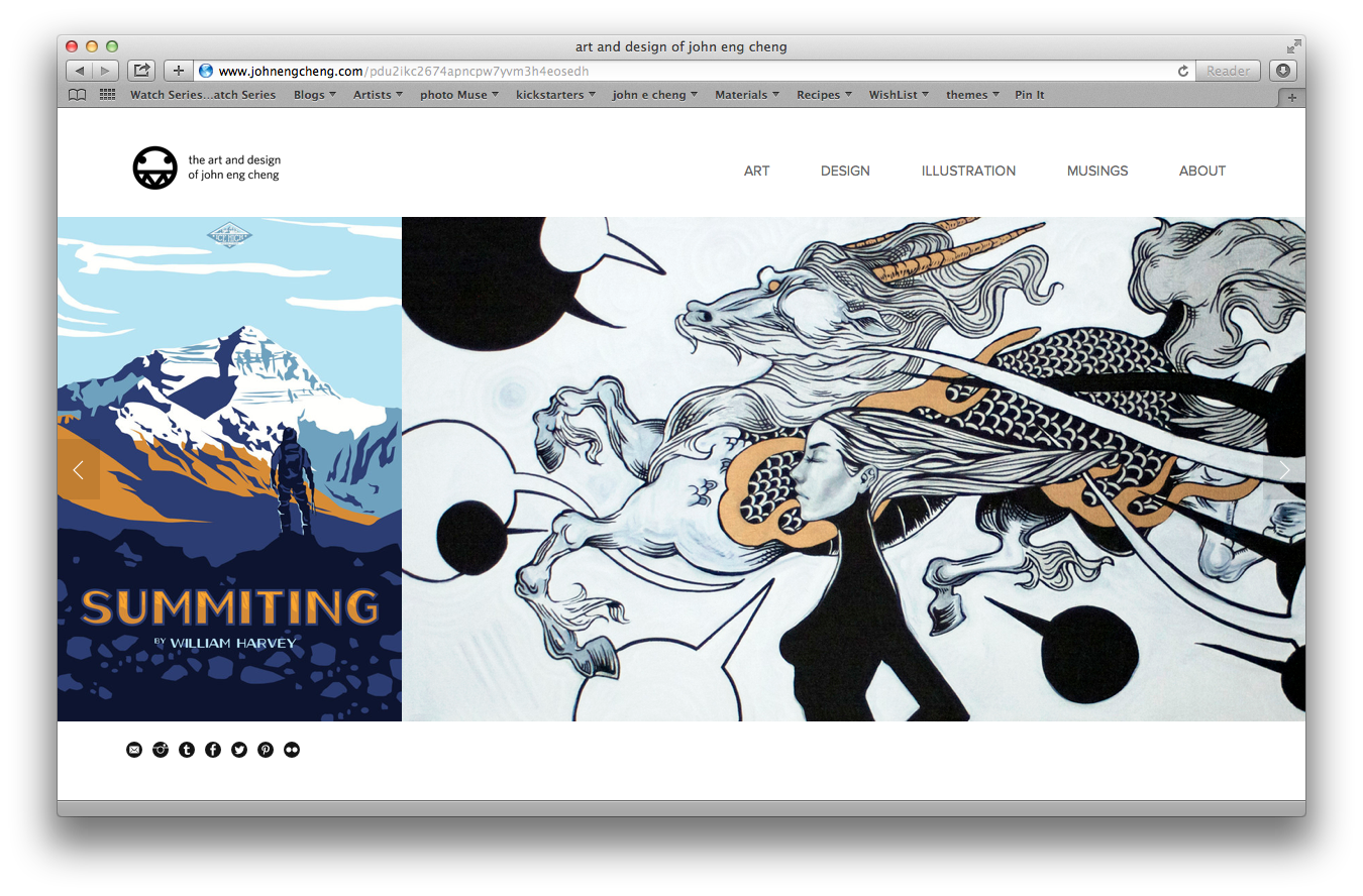 Homepage of john eng cheng's refreshed site.