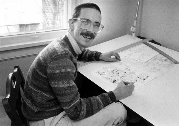 "Bill Watterson, shown in this 1986 file photo, has provided the poster art for ""Stripped,"" a new documentary about comic strips.  (C.H. Pete Copeland, The Plain Dealer)"