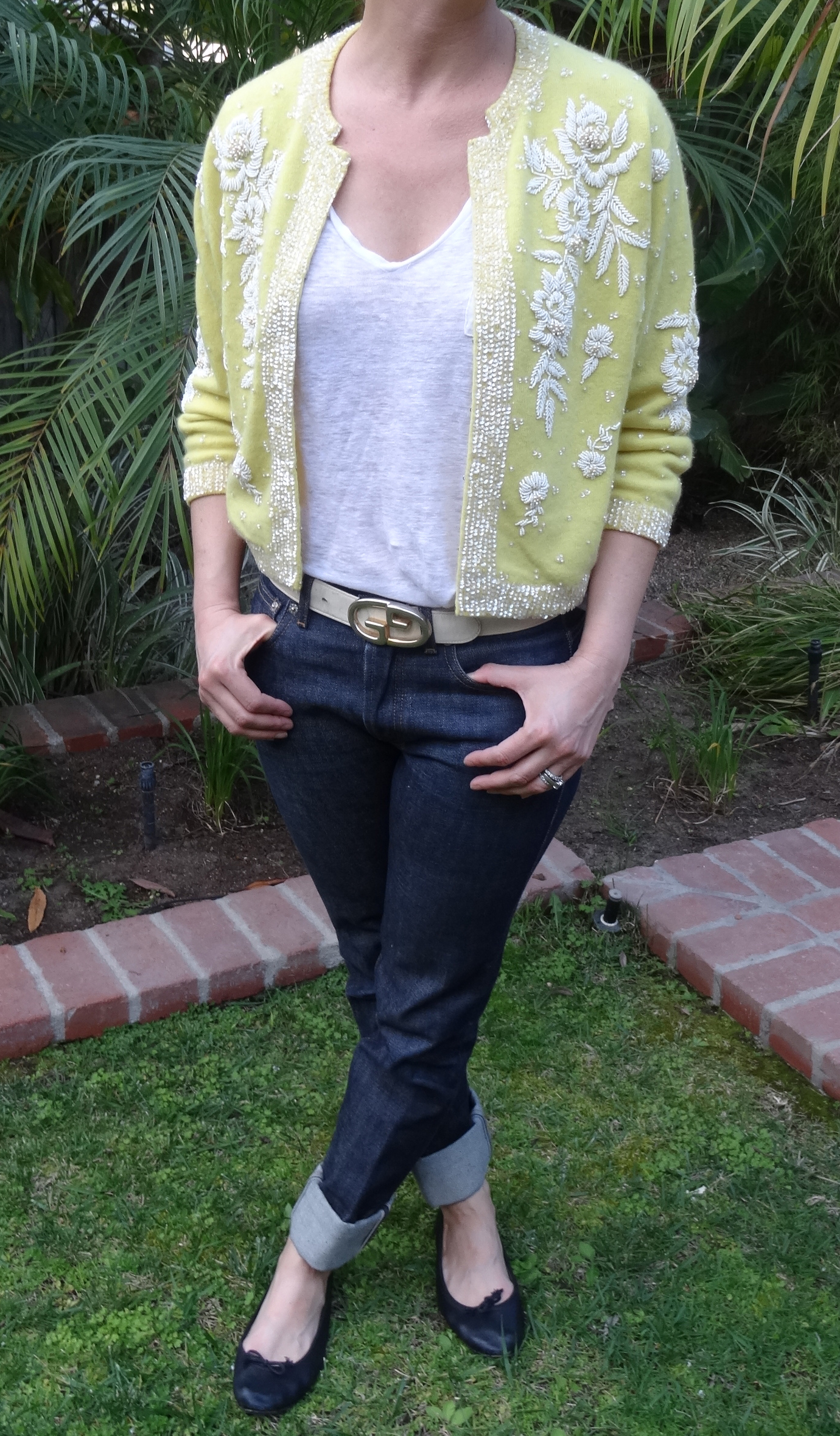 Vintage yellow beaded cashmere sweater, Gucci Belt, A.P.C Jeans, Repetto flats