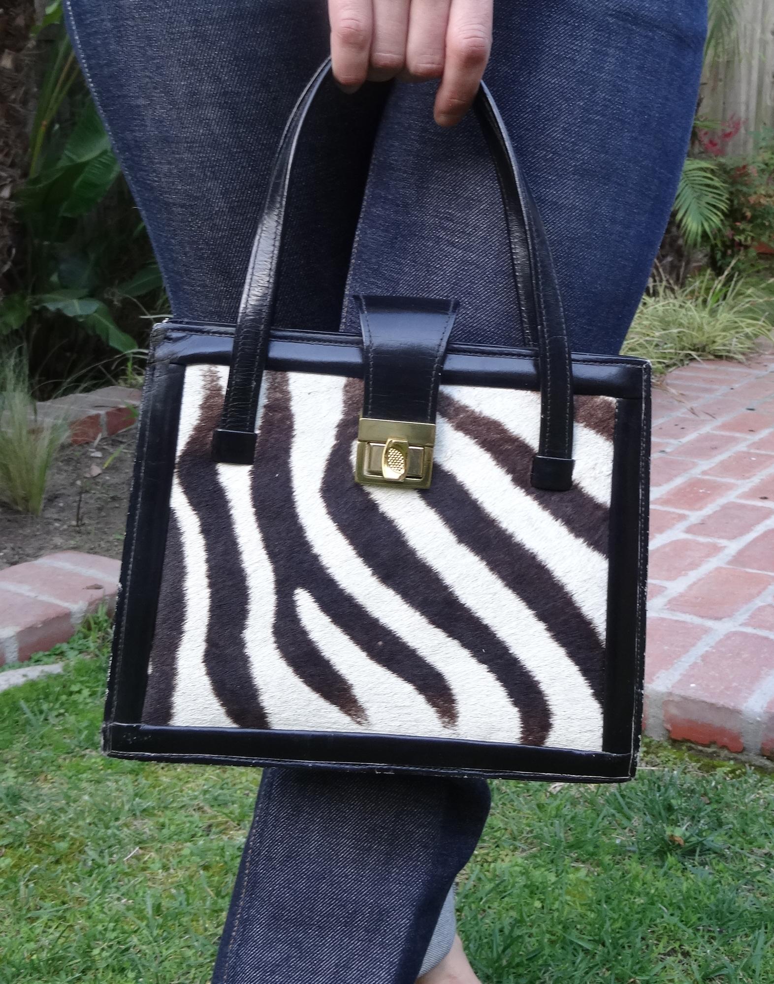 Vintage leather and zebra hair handbag