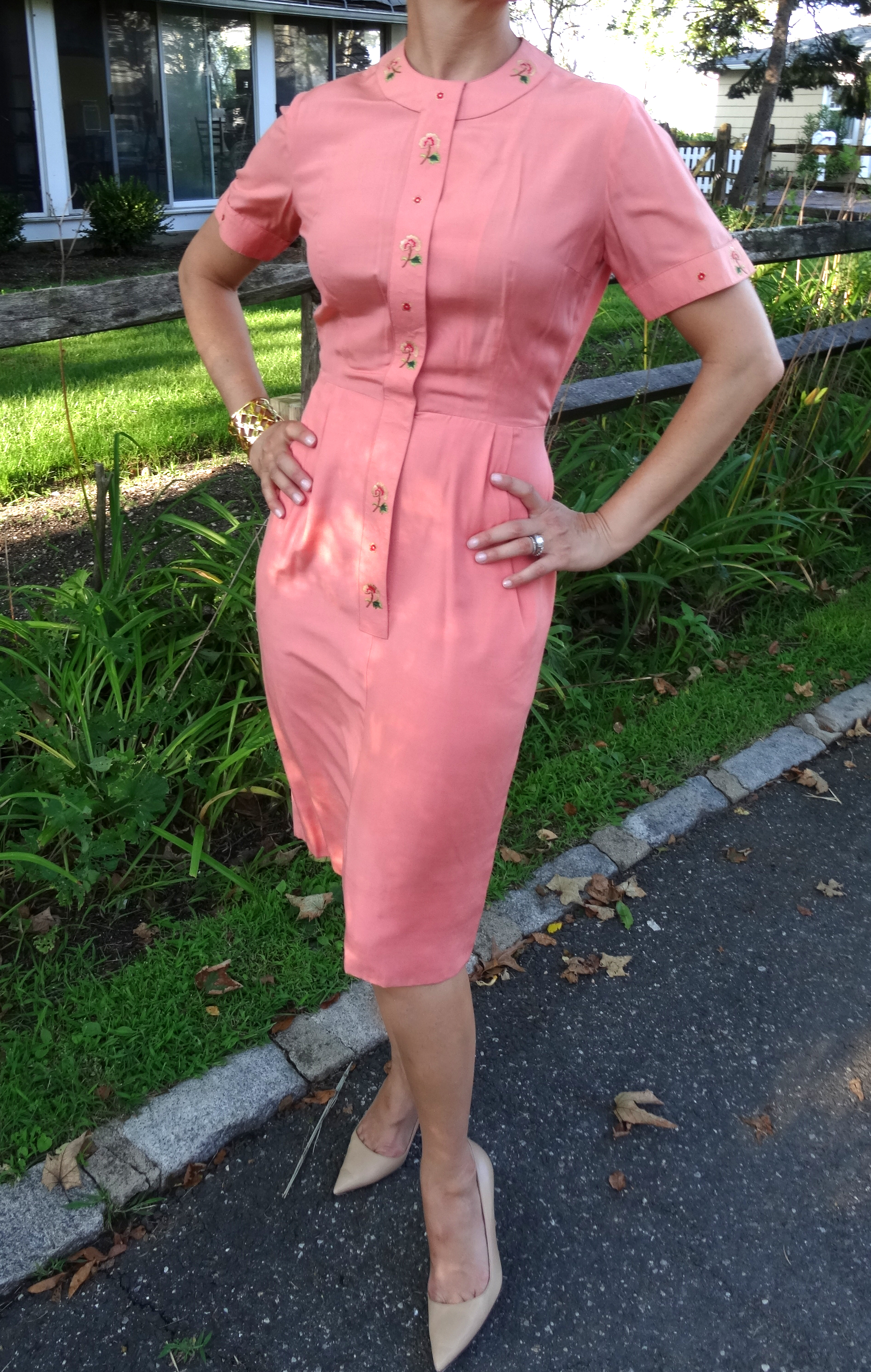 Vintage Peach day dress with embroidery