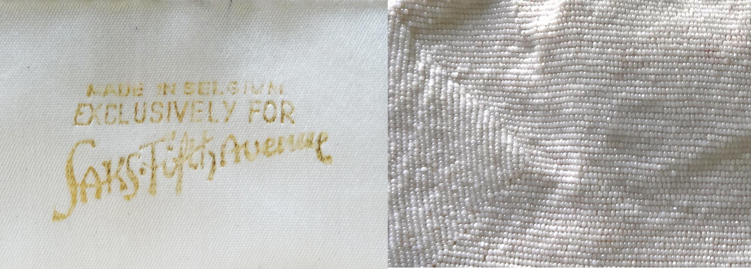 White beaded bag tag & detail