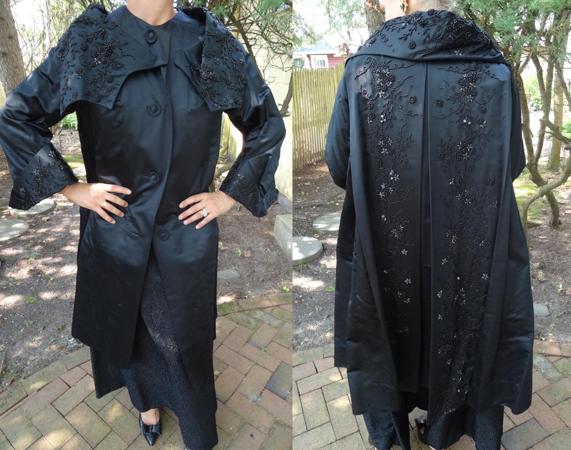 Vintage black silk opera coat