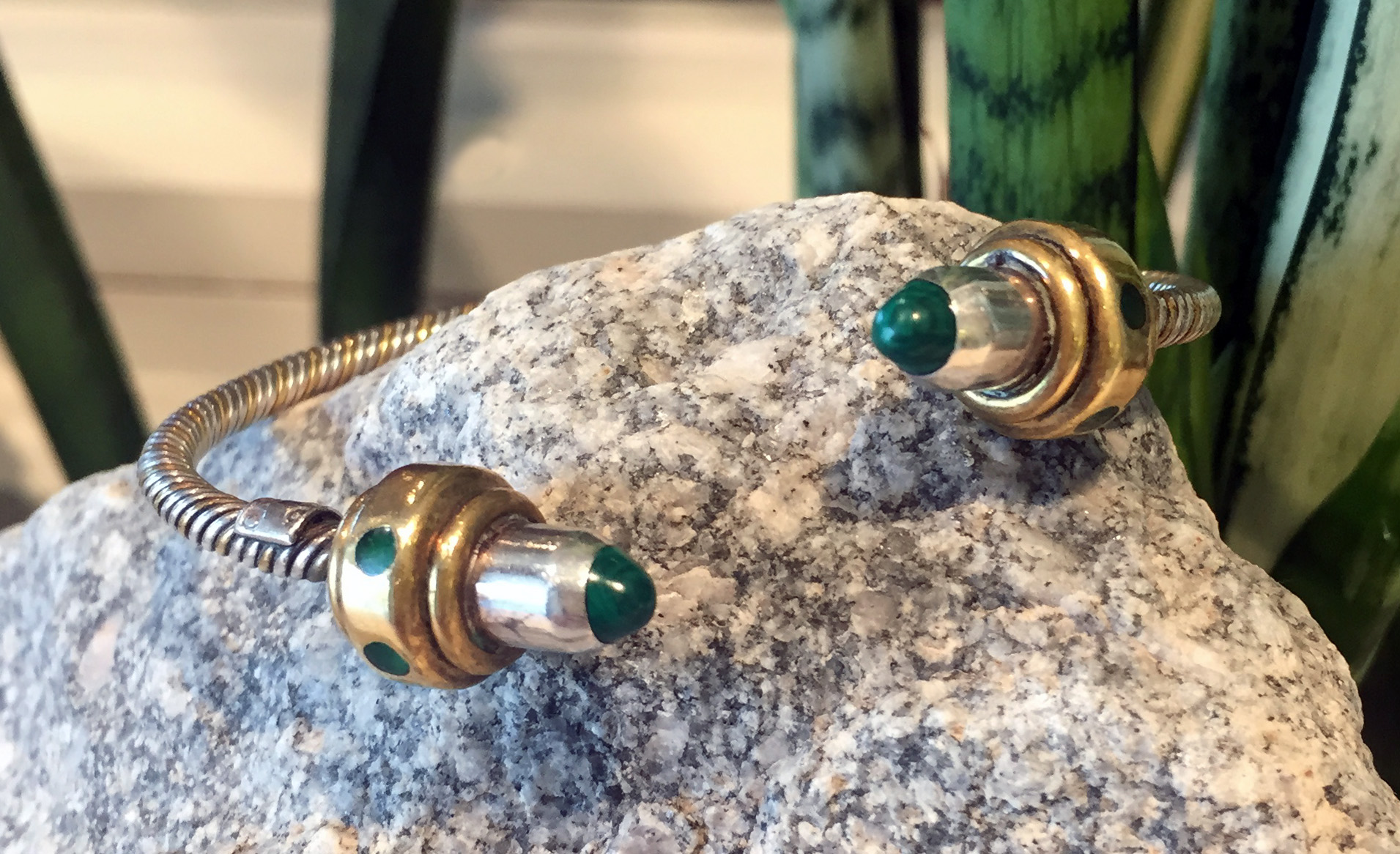 Mom's Silver, Brass & Malachite Cuff