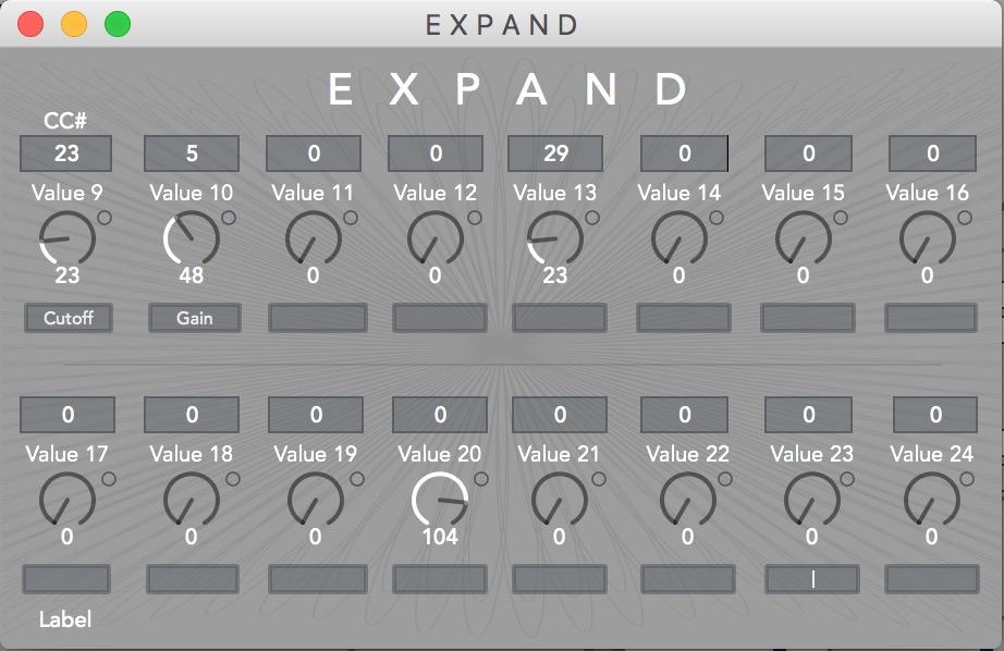 E X P A N D  Module provides sixteen additional assignable dials for CC control.