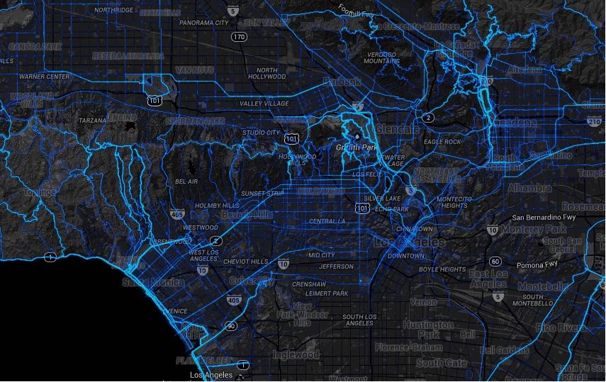 Los Angeles Heatmap [image via  Strava Labs ]