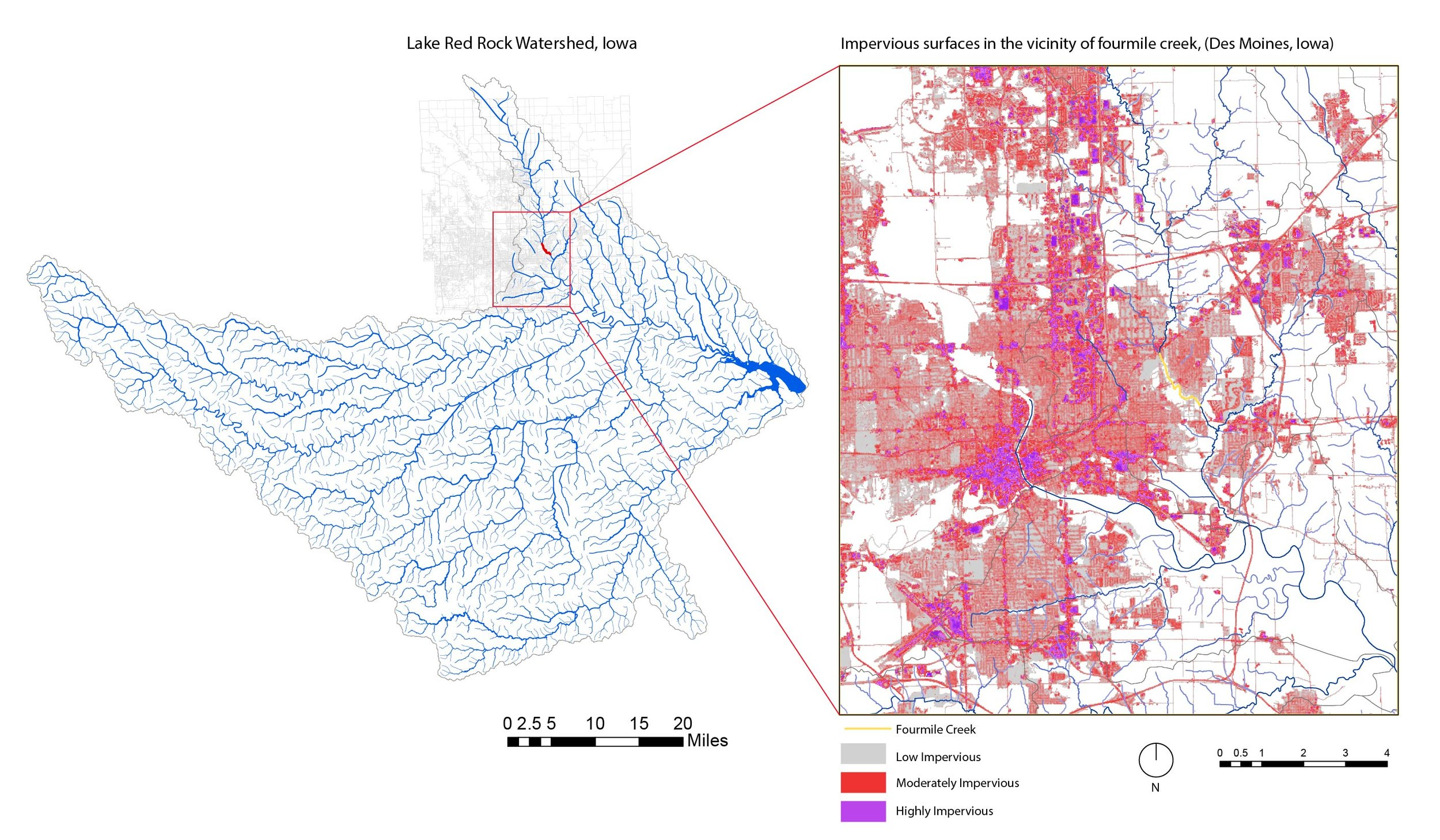 Fourmile creek in the larger context of the watershed (left) and impervious landcover analysis within Des Moines (right).