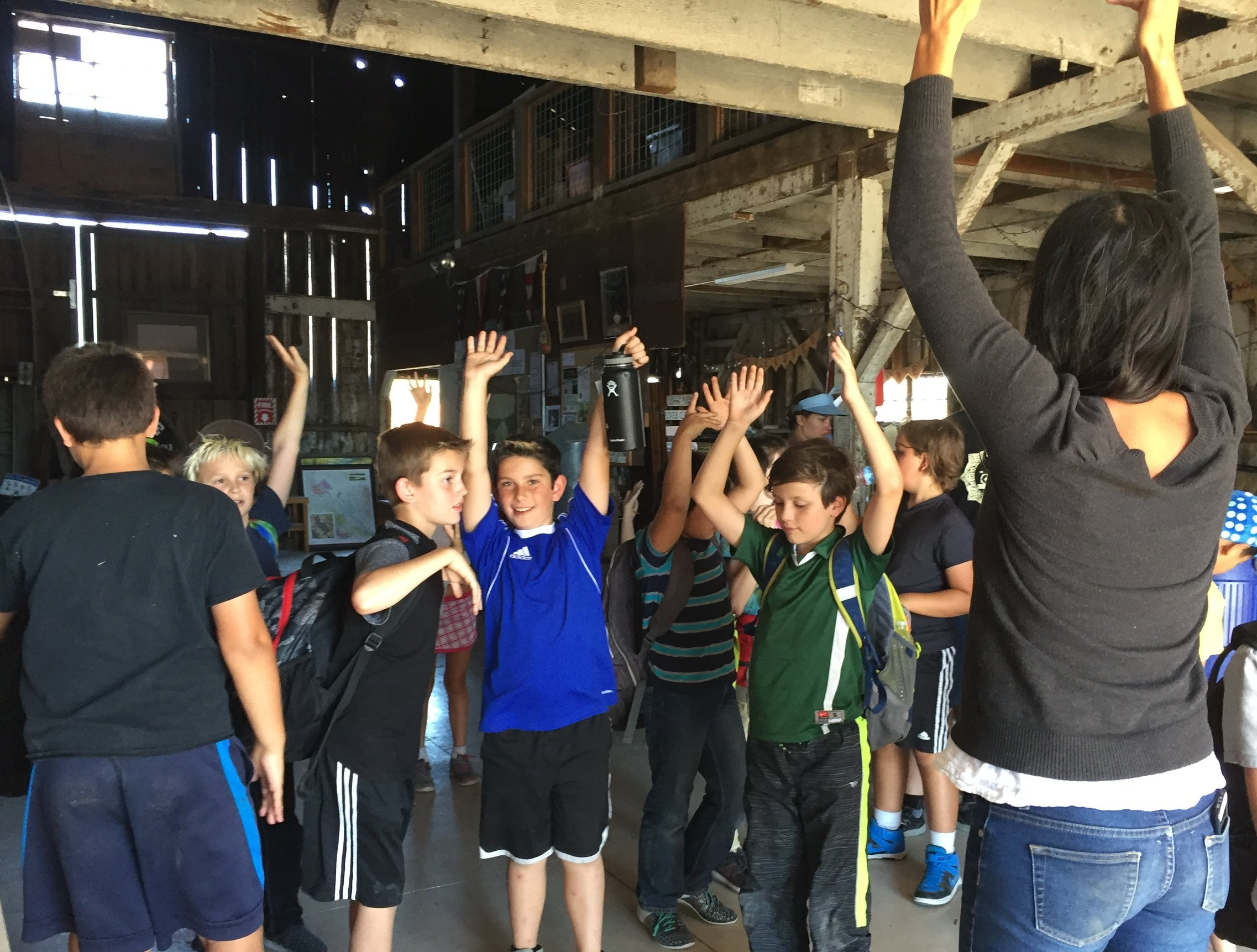Our Programs Director Michelle Sauceda with students from Live Oak Charter School at the David Yearsley River Heritage Center during the  first field trip  of 2016-2017.