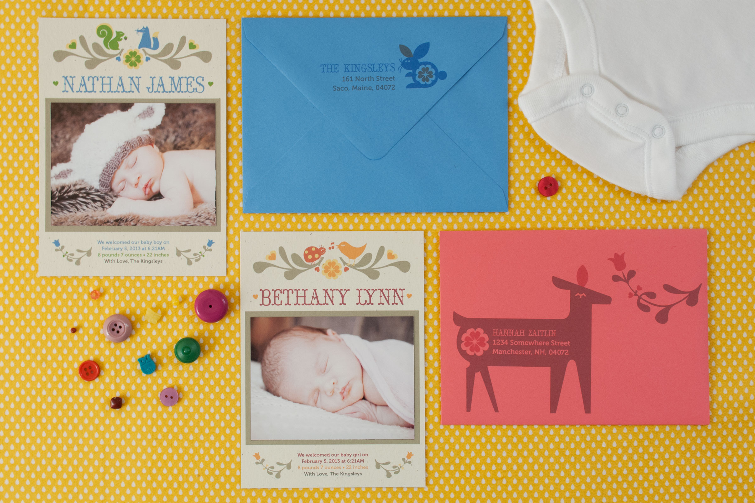 First up is the  Sherwood , which coordinates with one of our existing Baby Shower stationery suites. Featuring folk-art inspired forest creatures, this whimsical design can be adapted in any color palette and includes an appliqued photograph of the little one. Adorable matching graphics may be printed on the envelopes as an optional Addressing add-on.