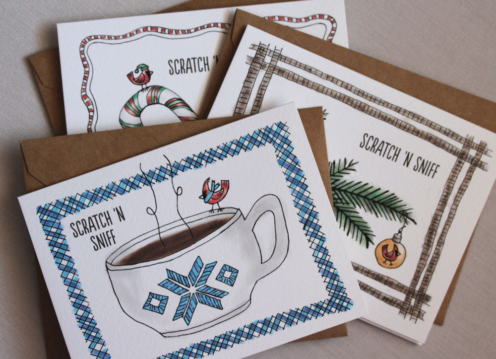 Our Scratch 'N Sniff line of Holiday Cards evoke aromas of hot chocolate, peppermint and Christmas trees from the moment your recipient opens the mailbox.