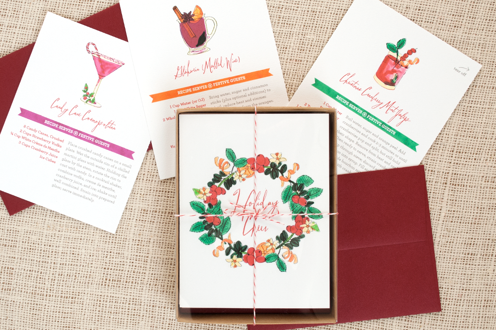 Festive holiday cocktails inspire our Festive Cocktail Recipe series featuring original watercolor artwork and tear-off recipe cards. Christmas Cranberry Mint Juleps, Candy Cane Cosmos and Glühwein (aka Mulled Wine) are meant to be shared during this season's celebrations.