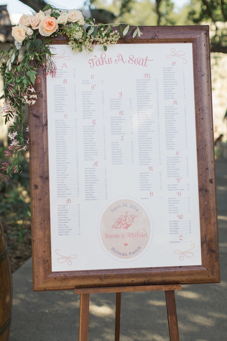 "The Seating Chart directing guests to their assigned tables. We have seen a huge uptick in orders for these as an alternative to individual Escort Cards – they are practical for outdoor weddings and more affordable for larger guest lists. Plus they are a fun way to tie the wedding ""brand"" into some printed signage.   Photo by Carlie Statsky."