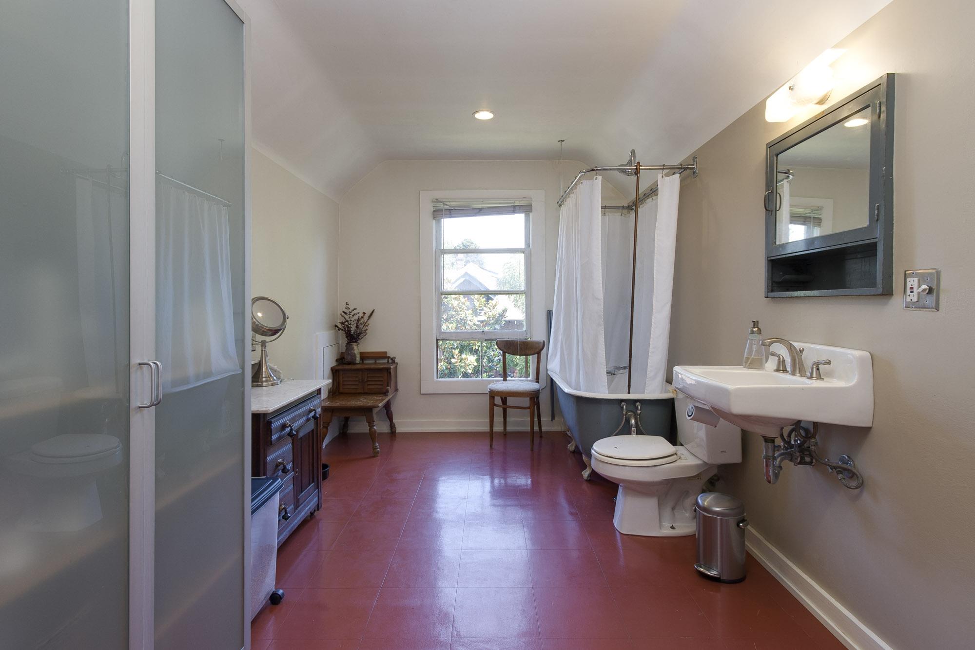Oversized bathroom on upper floor