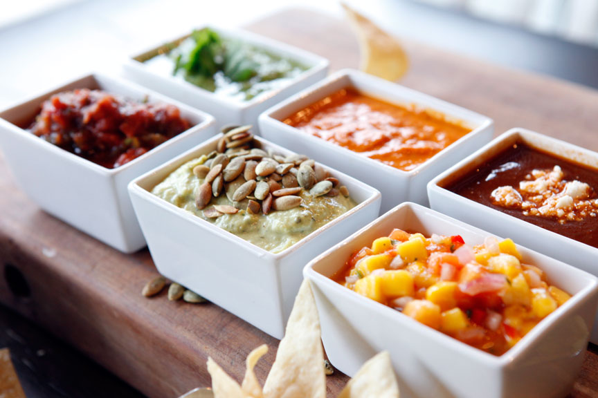 Local Lime SALSA TRIOS. Choose any 3 of our 6 original salsas to enjoy with our just-fried chips!